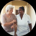 caregiver and elder talking