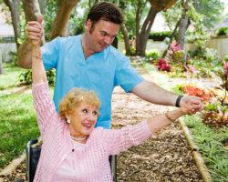 happy caregiver and patient